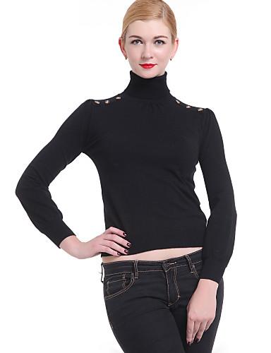 Damen Langarm Pullover - Solide Rollkragen