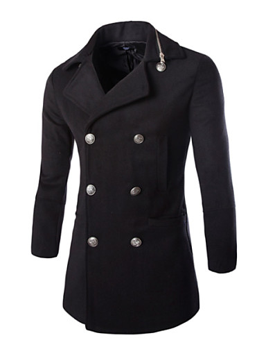 Men's Daily Simple Casual Fall Trench Coat,Solid Round Neck Long Sleeve Regular Cotton