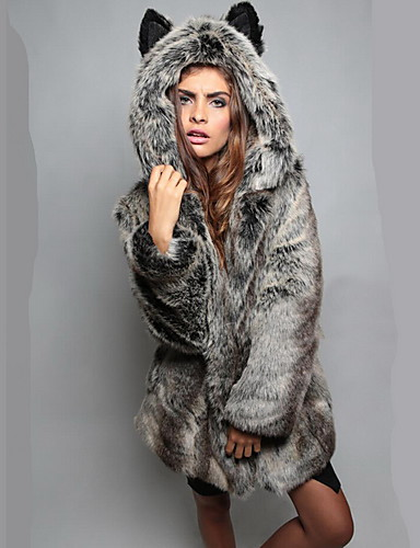 Women's Chic & Modern Faux Fur Fur Coat-Solid Color Animal
