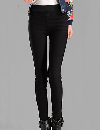 Mulheres Tamanhos Grandes Algodão Justas / Skinny Jeans Calças - Sólido