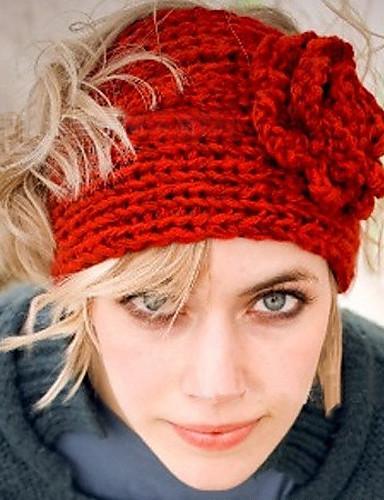 abordables Accessoires d'Hiver-Femme Laine Coton Soirée Travail Actif Bonnet / Crochet Couleur Pleine Noir Rouge Rose Hiver / Mignon / Doré / Beige / Blanc / Jaune