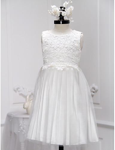 Une robe à rayures en ligne à une ligne de genoux - encolure sans manches en lacette by lan ting bride®