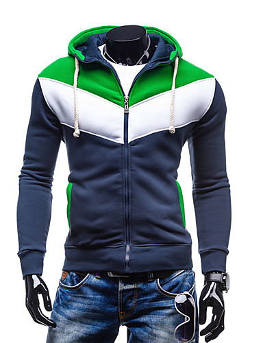 Men's Plus Size Daily Casual Hoodie Jacket Color Block Cotton Polyester Long Sleeve Fall