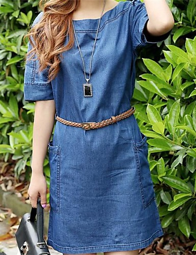 Damen Übergrössen Street Schick Jeansstoff Kleid Solide Übers Knie Blau