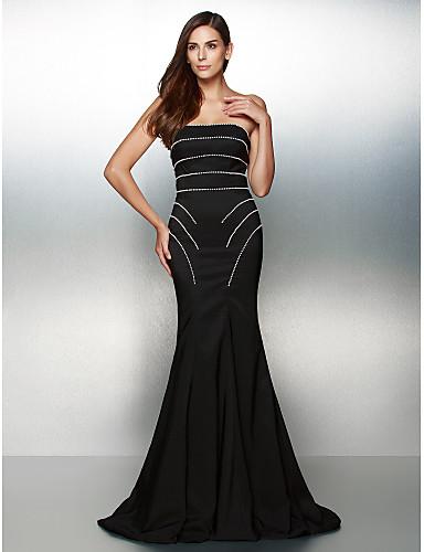 Τρομπέτα / Γοργόνα Στράπλες Ουρά Ζέρσεϊ Επίσημο Βραδινό Φόρεμα με Χάντρες με TS Couture®