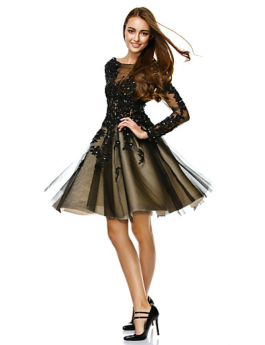 cheap Black Dresses-A-Line Boat Neck / Bateau Neck Knee Length Tulle See Through Prom Dress with Beading / Appliques by TS Couture®