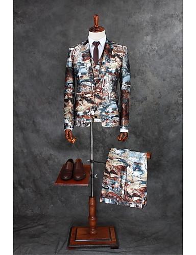 Kahve Desen Kişiye Özel Kalıp Polyester Takım elbise - Çentik Tek Sıra Düğmeli Bir Düğme
