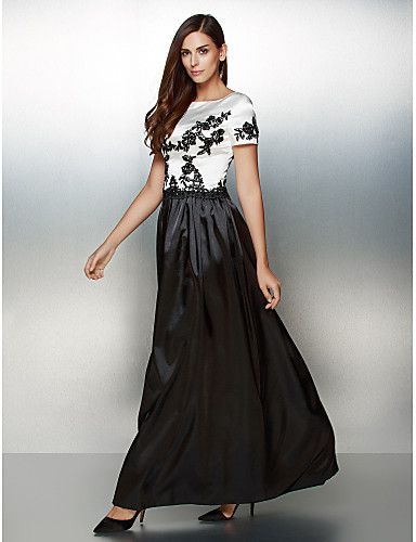 A-Line Scoop Neck Ankle Length Satin Formal Evening Dress with Appliques by TS Couture®