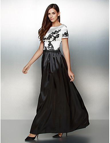 A-linje Scoop Neck Ankellang Sateng Fargeblokk Formell kveld Kjole med Appliqué av TS Couture®
