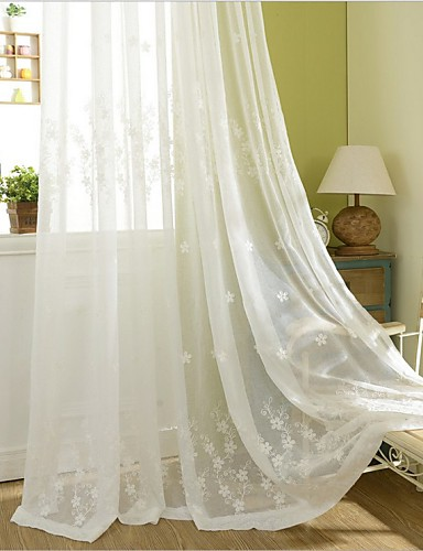 """cheap Sheer Curtains-Eco-friendly Curtains Drapes Two Panels 2*(72W×84""""L) / Embroidery / Bedroom"""