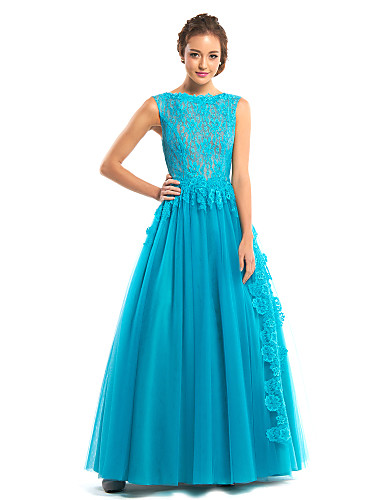 A-Line Bateau Neck Floor Length Lace Tulle Formal Evening Dress with Lace by TS Couture®