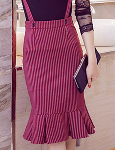 Women's Cute Plus Size Trumpet/Mermaid Bodycon Skirts - Striped