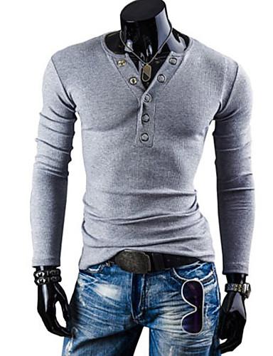 남성의 면 퓨어 긴 소매 캐쥬얼 티셔츠-블랙 / 블루 / 그레이
