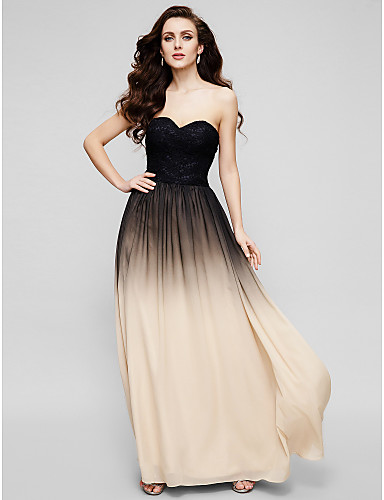 A-Line Sweetheart Neckline Floor Length Chiffon / Lace Prom / Formal Evening Dress with Lace by TS Couture® / Color Gradient