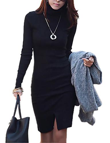 Damen Street Schick Baumwolle Hülle Kleid - Gespleisst, Solide Asymmetrisch Rollkragen Schwarz / Schlank