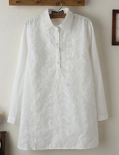Mulheres Camisa Casual Simples Outono,Sólido Branco Poliéster Colarinho de Camisa Manga Longa Fina