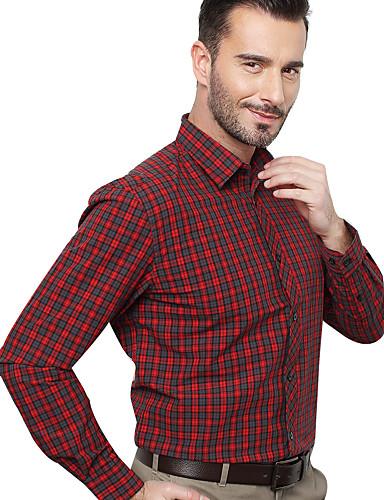 JamesEarl Masculino Colarinho de Camisa Manga Comprida Shirt & Blusa Vermelho - MB1XC000201