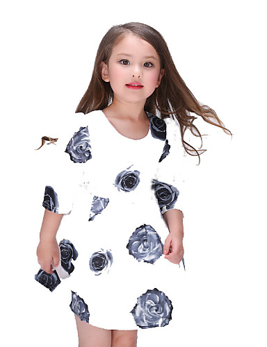 Virágos Poliészter Nyár Lány Fehér,Fehér