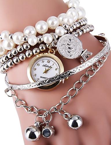 Mulheres Bracele Relógio Relógio de Moda Quartzo Lega Banda Com Pérolas Prata Dourada