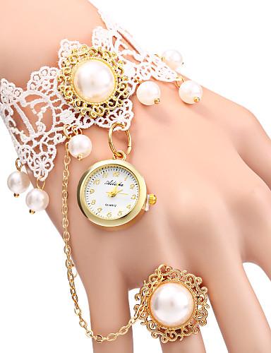 Kadın's Quartz Bilezik Saat Gündelik Saatler Alaşım Bant İnci Moda Beyaz