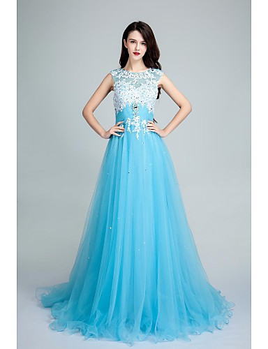 A-Line Scoop Neck Sweep / Brush Train Tulle Open Back Formal Evening Dress with Beading / Appliques by TS Couture®
