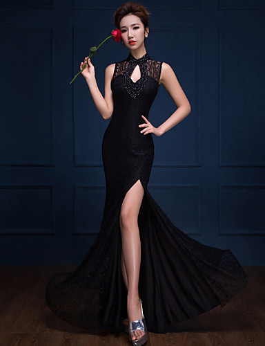 Formalna večernja haljina - ogrlica od trube / sirene visoka vrata dugačakoj čipki s izdvojenim prednjim dijelom