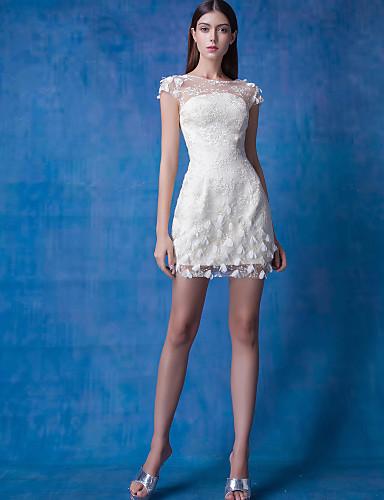 Sütun Illüzyon boyun çizgisi Kısa / Mini Dantelalar Tül Boncuklama Çiçekli ile Kokteyl Partisi / Balo Elbise tarafından TS Couture®