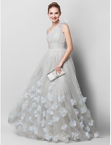 A-Şekilli Tek Omuz Süpürge / Fırça Kuyruk Tül Çiçekli Haç ile Balo / Resmi Akşam Elbise tarafından TS Couture®