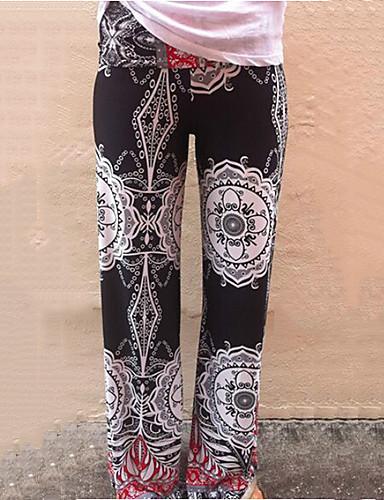 Mulheres Algodão Perna larga / Jeans Calças - Estampado