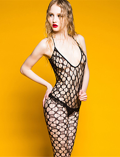 Női Harisnyakötős fehérnemű Ultra szexi Teddy Hálóruha Egyszínű Nejlon Szürke
