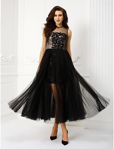 Linia -A / Prințesă Iluzii Lungime Tea Tulle Stil Vedetă Bal / Seară Formală Rochie cu Mărgele / Paiete / Aplică de TS Couture®