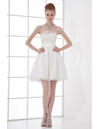 A-Line Strapless Short / Mini Taffeta Bridesmaid Dress with Beading Bow(s) Lace by LAN TING BRIDE®