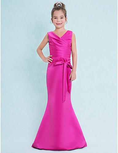 10bd6286288ca Mermaid / Trumpet V Neck Floor Length Satin Junior Bridesmaid Dress with  Criss Cross by LAN TING BRIDE® / Natural