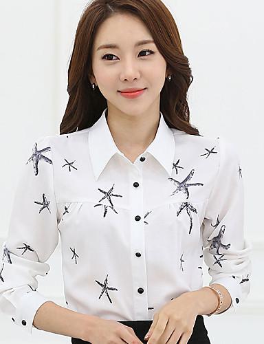 Damen Druck Übergröße Lässig/Alltäglich Hemd,Hemdkragen Frühling Langarm Weiß / Mehrfarbig Polyester Dünn