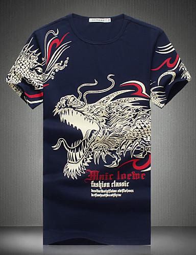 Miesten Painettu Boheemi Pluskoko - T-paita