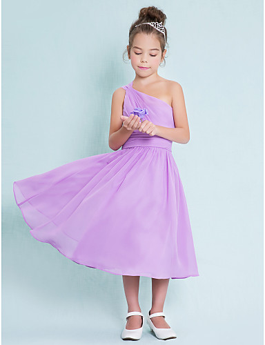 A-Linie Ein-Schulter Tee-Länge Chiffon Junior-Brautjungferkleid mit Seitlich drapiert durch LAN TING BRIDE® / Normal