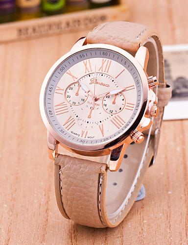 Geneva Damen Armbanduhr Armbanduhren für den Alltag Leder Band Freizeit / Modisch Schwarz / Weiß / Blau / Ein Jahr / Tianqiu 377