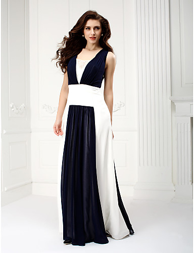 A-linje Firkantet hals Gulvlang Chiffon Skolebal / Formel aften Kjole med Drapering ved TS Couture®