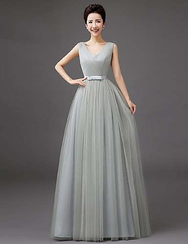 Bridesmaid Dress Floor-length Tulle - Sheath / Column V-neck with Bow by QQC Bridal