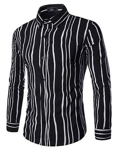 פסים קולור בלוק יום יומי\קז'ואל מידות גדולות חולצה גברים שרוול ארוך כותנה