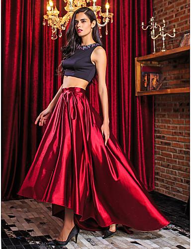 A-Şekilli İki Parça Taşlı Yaka Asimetrik Streç Saten Boncuklama ile Balo / Resmi Akşam Elbise tarafından TS Couture®