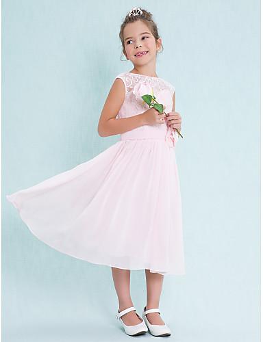 A-Şekilli Scoop Boyun Diz Altı Şifon Dantelalar Dantel Çiçekli ile Çocuk Nedime Elbisesi tarafından LAN TING BRIDE®