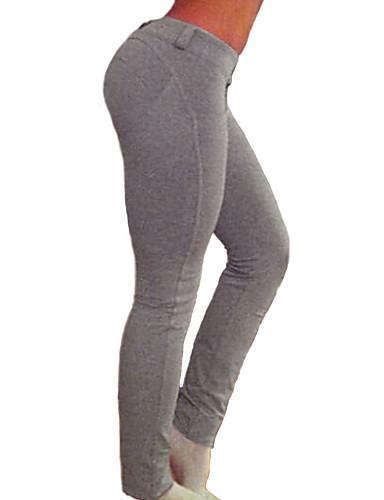 Naisten Tukeva Keskipaksu Yksiväriset Leggingsit,Puuvilla Spandex,Tämän tyylin koko on täsmällinen.