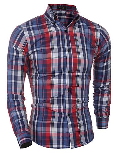 Homens Camisa Social Xadrez Algodão Colarinho Com Botões