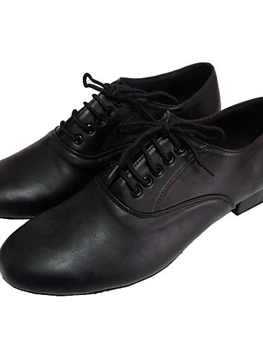 povoljno Cipele za ples-Muškarci Koža Cipele za latino plesove / Standardni Sandale Kockasta potpetica Moguće personalizirati Crna / Brušena koža / Vježbanje / EU43