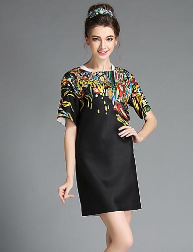 A 라인 드레스 캐쥬얼/데일리 플러스 사이즈 빈티지 컬러 블럭,라운드 넥 무릎 위 짧은 소매 폴리에스테르 스판덱스 여름 중간 밑위 약간의 신축성