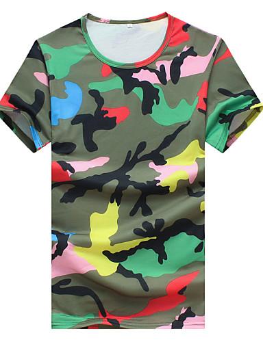 Menn Fritid Camouflage T-skjorte,Bomull / Polyester Kortermet-Blå / Grønn