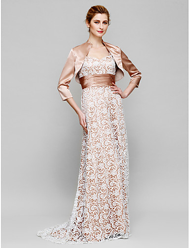 Szűk szabású Seprő uszály Csipke Charmeuse Örömanya ruha - Csipke Ráncolt által LAN TING BRIDE®
