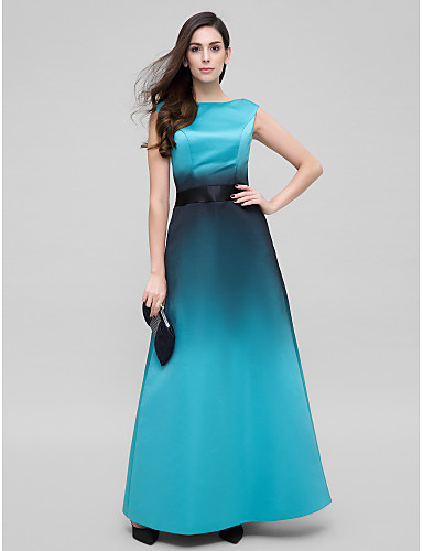 A-Line Scoop Neck Ankle Length Satin Prom / Formal Evening Dress with Sash / Ribbon by TS Couture®