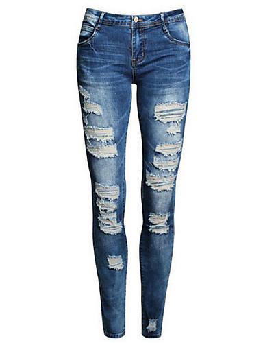 Feminino Moda de Rua Cintura Média Micro-Elástica Delgado Jeans Calças,Sólido Algodão Todas as Estações